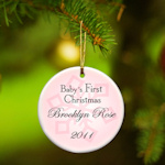 Personalized Baby Girl First Christmas Ornament