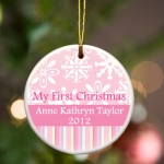 Personalized First Christmas Ornament (3 Colors)