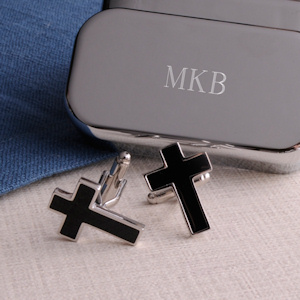 Black Cross Cufflinks with Personalized Case imagerjs