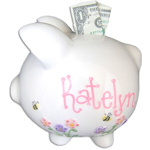 Personalized Flowers & Bees Piggy Bank