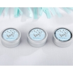 Personalized It's a Boy Silver Round Candy Tins (Set of 12)