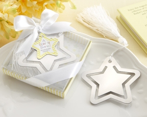 Silver Metal Star Shaped Bookmark with White Silk Tassel imagerjs