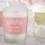 Personalized Rustic Shower Frosted Glass Votives