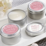 Personalized Rustic Travel Candle Shower Favors
