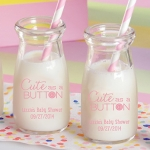 Personalized Cute as a Button Printed Milk Jar (Set of 12)