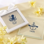 Personalized Nautical Baby Shower Glass Coasters (Set of 12)