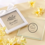 Personalized Rustic Baby Shower Glass Coasters (Set of 12)