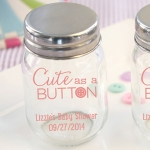 Personalized Cute as a Button Printed Mini Mason Jars