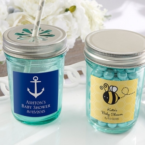 Personalized Blue Mason Jar Baby Shower Favors (Set of 12) imagerjs