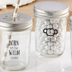 Personalized Born to be Wild Printed Shower Mason Jars