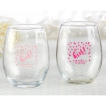 Personalized 9 oz It's a Girl Stemless Wine Glass