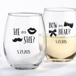 Personalized Gender Reveal Party Stemless Wine Glass Favors