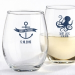 Personalized Nautical Baby Shower Stemless Wine Glasses