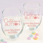 Personalized Cute as a Button Printed Stemless Wine Glasses
