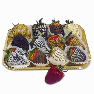 Gold Tray of Chocolate Dipped Strawberries data-pin-no-hover=