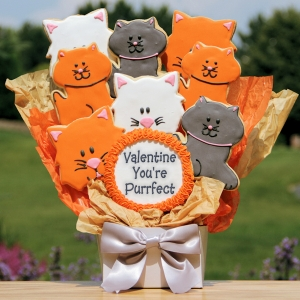 Valentine You're Purrfect Bouquet of Cat Cookies imagerjs