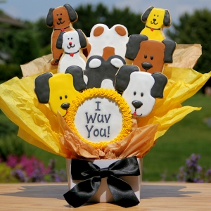 I Wuv You Dog Themed Cookie Bouquet imagerjs