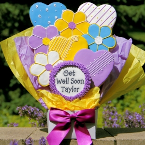 Get Well Soon Heart & Flower Cookie Bouquet imagerjs