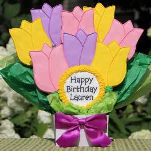 Happy Birthday Tulip Cookie Bouquet Gift imagerjs