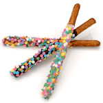 Chocolate Pretzel Wands - Confetti Sprinkles