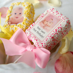 Chocolate Dipped Crispy Rice Bar Baby Photo Favors