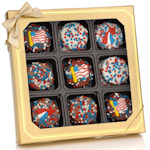Patriotic Box of 9 Chocolate Dipped Oreos