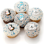 Winter Design Belgian Chocolate Cupcakes (6 Pack)