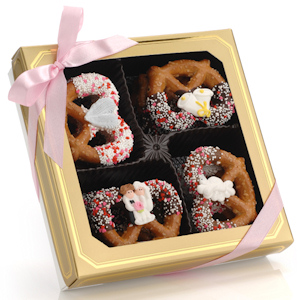 Wedding Chocolate Dipped Pretzel Twists - Box of 12 imagerjs