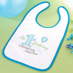 First Blue Birthday Bib