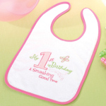 First Pink Birthday Bib