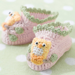 Pink Owl Booties (0 - 6 Months)