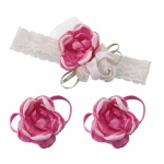 Baby Headband & Barefoot Sandals - Hot Pink