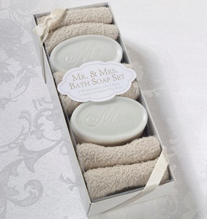 Mr & Mrs Bath Soap and Washcloths imagerjs