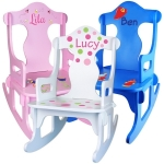 Personalized Puzzle Back Kids Rocking Chair (3 Colors)