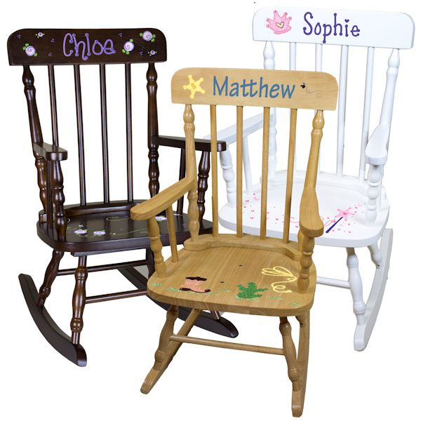 Personalized kids spindle rocking chair 3 wood colors for Monogrammed kids chair