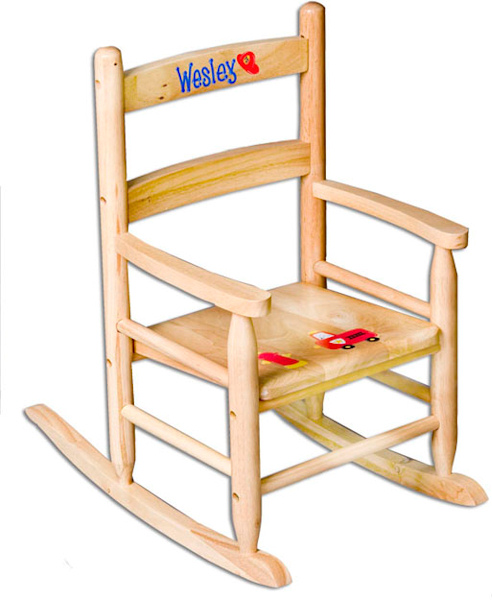 Personalized kids slat back rocking chair gift baskets for Monogrammed kids chair