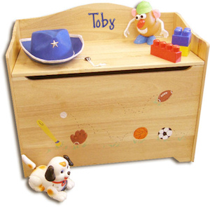 Personalized Natural Toy Box Bench imagerjs