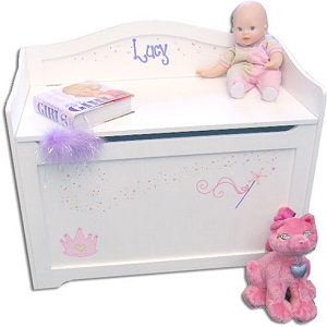 Personalized White Toy Box Bench imagerjs