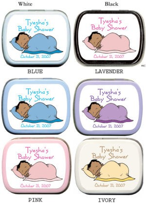 Filled African American Sleeping Baby Shower Mint Tins imagerjs