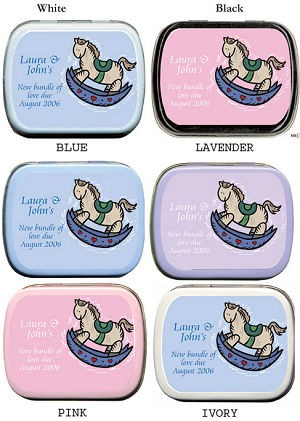Filled Rock-A-Bye Rocking Horse Baby Shower Tin Favors imagerjs