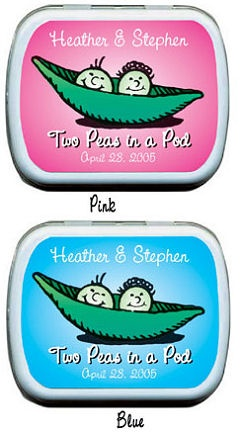 Filled Two Peas in a Pod Baby Shower Mint Tins imagerjs