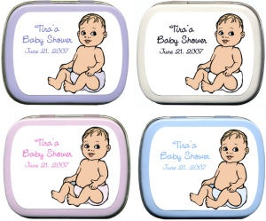 Filled Caucasian Baby Custom Shower Tins imagerjs