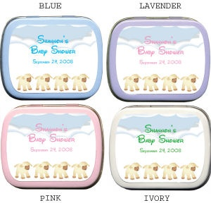 Filled Four Little Lambs Quadruplets Baby Shower Tins imagerjs