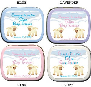 Filled Twin Little Lambs Baby Shower Tin Favors imagerjs