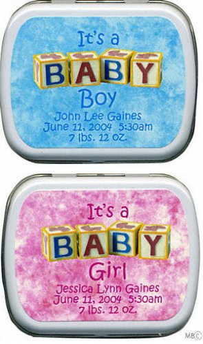 Filled It's A Baby Girl-Boy Birth Announcement Tins imagerjs