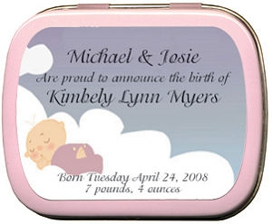 Filled Sleeping Baby Birth Announcement Tins imagerjs