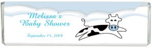 Jumping Cow Boy Baby Shower Chocolate Bar image