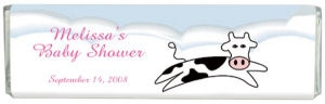 Girl's Baby Shower Jumping Cow Chocolate Bar data-pin-no-hover=