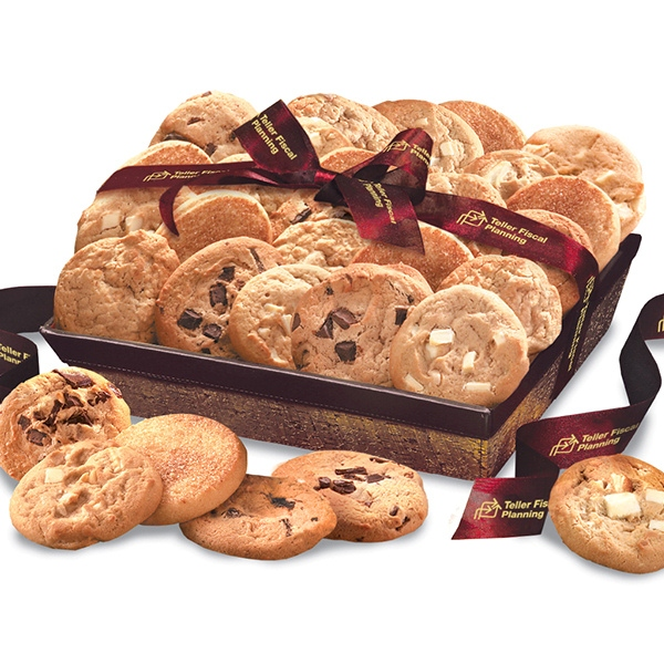 Corporate cookie basket with logo ribbon gift baskets
