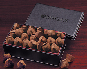 Cocoa Dusted Truffles in a Faux Leather Gift Box imagerjs
